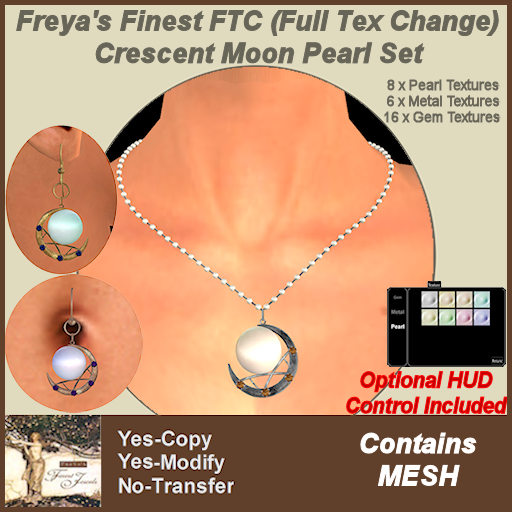 Freya's Finest FTC Crescent Moon Pearl Set TEX