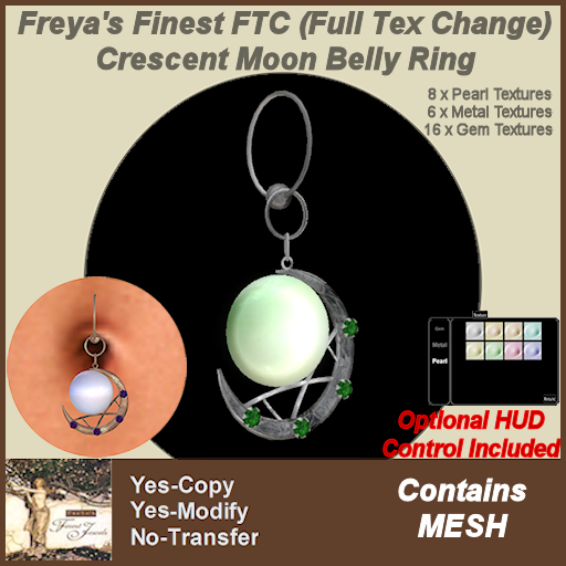 Freya's Finest FTC (Full Tex Change)Crescent Moon Belly Ring