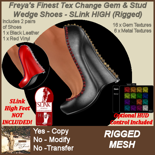 Freya's Finest FTC Gem & Stud Wedge Shoes - SLink HIGH (Rigged)