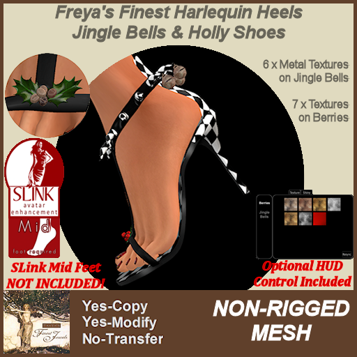 Freya's Finest Harlequin Heels Jingle & Holly SLink Mid Shoes