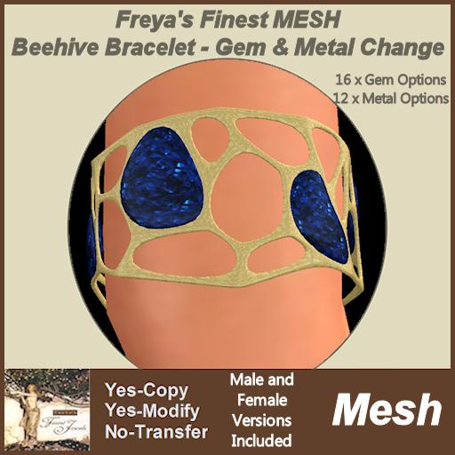 Freya's Finest MESH Beehive Bracelet - Gem & Metal Change TEX