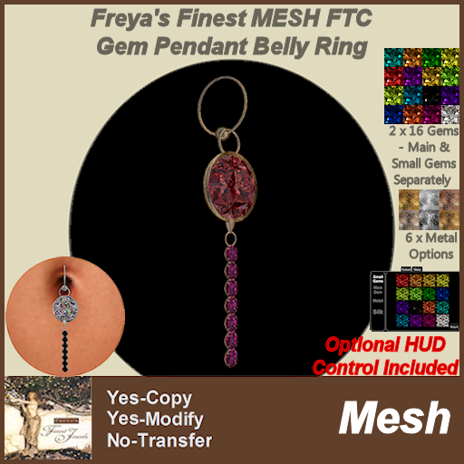 Freya's Finest MESH FTC Gem Pendant Belly Ring MC TEX