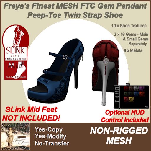 Freya's Finest MESH FTC Gem Pendant Peep-Toe Twin Strap Shoe