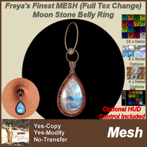 Freya's Finest MESH (Full Tex Change) Moon Stone Belly Ring TEX