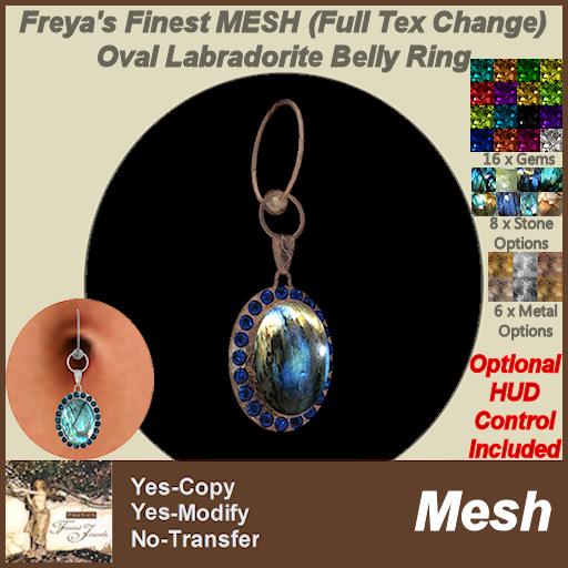 Freya's Finest MESH (Full Tex Change) Oval Labradorite Belly Ring