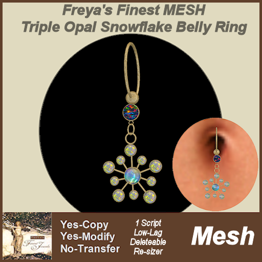 Freya's Finest MESH Triple Opal Snowflake Belly Ring MC TEX