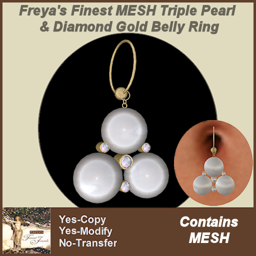 Freya's Finest MESH Triple Pearl & Diamond Belly Ring TEX