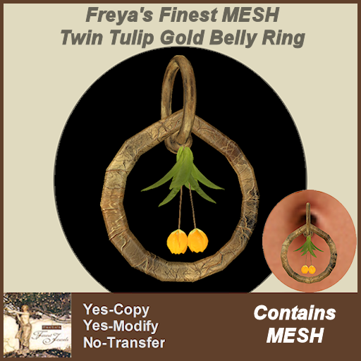 Freya's Finest MESH Twin Tulip Gold Belly Ring TEX
