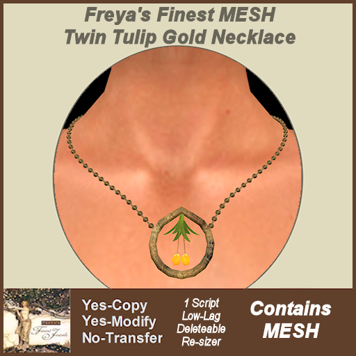 Freya's Finest MESH Twin Tulip Gold Necklace TEX
