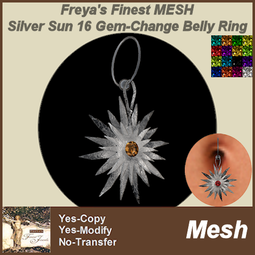 Freya's Finest MESH Twisted Silver Sun Belly Ring 16 GemStones MC TEX