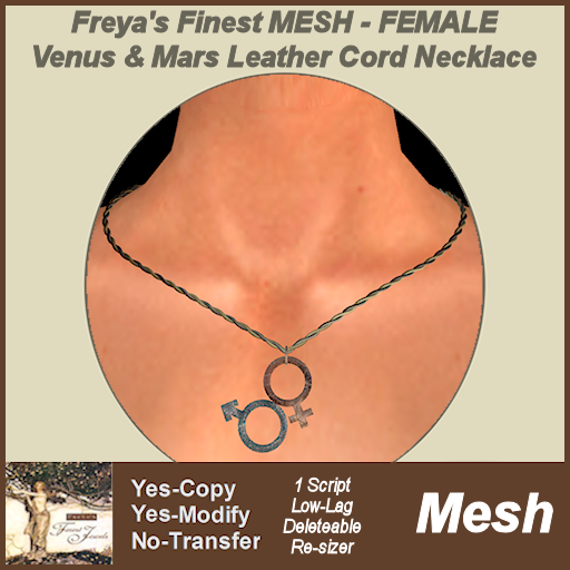 Freya's Finest MESH Venus & Mars Leather Cord Necklace - FEM TEX