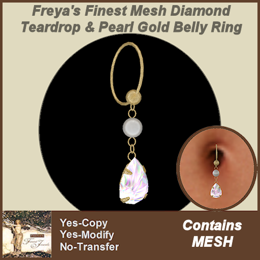 Freya's Finest Mesh Diamond Teardrop & Pearl Gold Belly Ring TEX