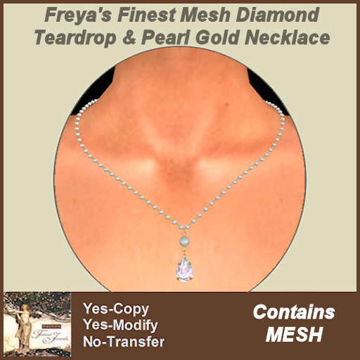 Freya's Finest Mesh Diamond Teardrop & Pearl Gold Necklace TEX