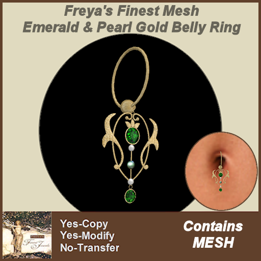 Freya's Finest Mesh Emerald & Pearl Gold Belly Ring
