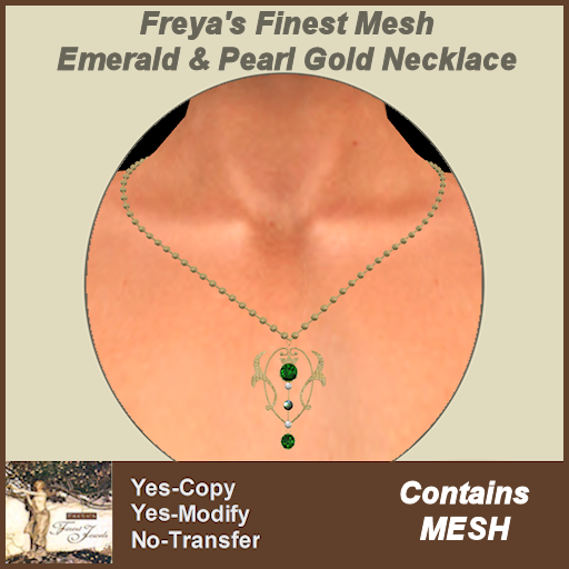 Freya's Finest Mesh Emerald & Pearl Gold Necklace