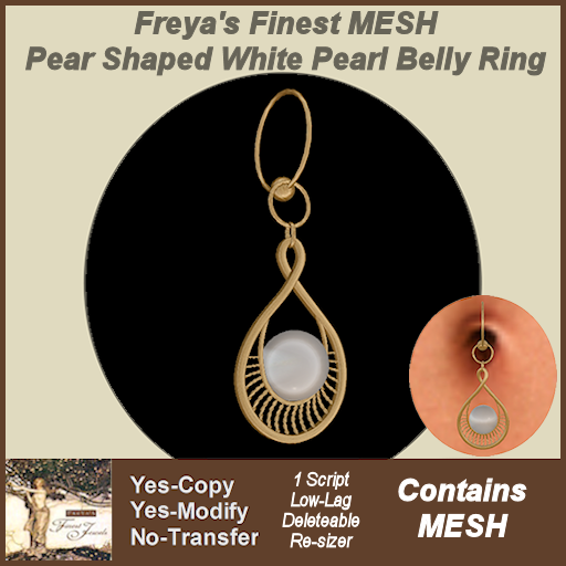 Freya's Finest Pear Shaped White Pearl Belly Ring TEX