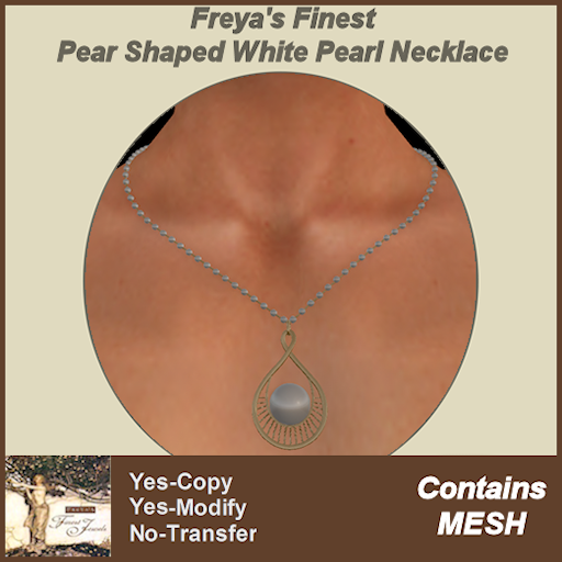 Freya's Finest Pear Shaped White Pearl Necklace TEXT