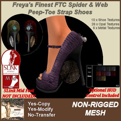 Freya's Finest SLink MID FTC Spider & Web Peep-Toe Strap Shoes TEX
