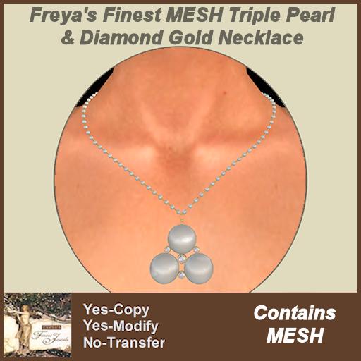Freya's Finest Tripple Pearl & Diamond Gold Necklace TEX