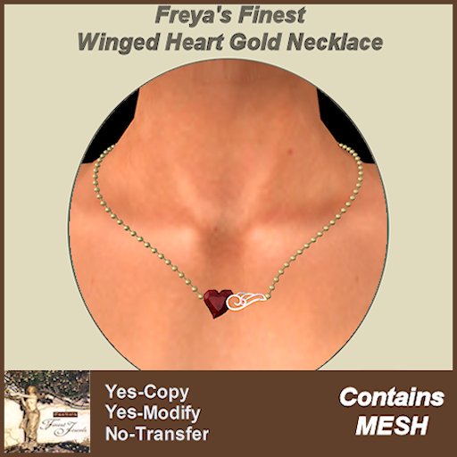 Freya's Finest MESH Winged Heart Gold Necklace TEXT