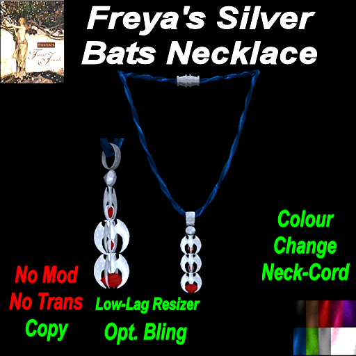 Freya's Finest Silver Bats Colour change Necklace